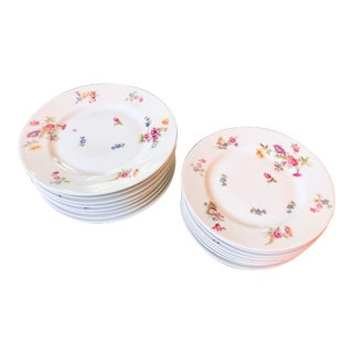 Early 1900s Bernardaud Limoges Floral Plates - Set of 16 For Sale