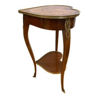 Louis XV Revival Marquetry Inlaid Heart Shaped Table With Bronze Ormolu For Sale