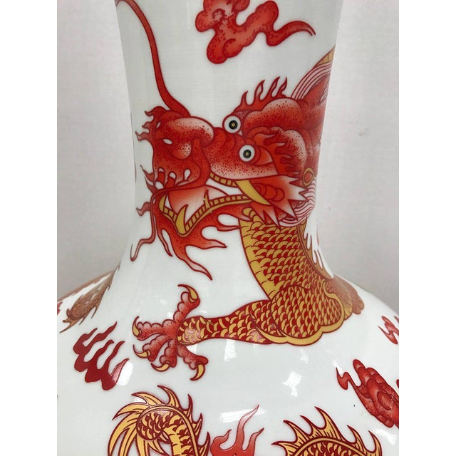 Asian Chinese Orange and White Dragon Vase For Sale - Image 3 of 5