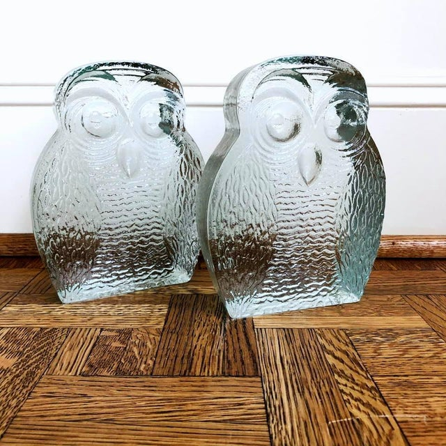 Mid-Century Modern Original Mid Century Modern Blenko Owl Bookends - a Pair For Sale - Image 3 of 8