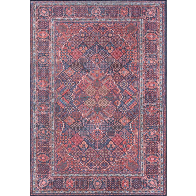 "Traditional Momeni Afshar Polyester Navy Area Rug - 7'6"" X 9'6"" For Sale In Atlanta - Image 6 of 6"