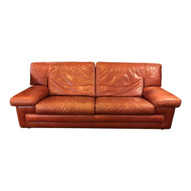 Roche Bobois Vintage Red Leather Sofa For Sale