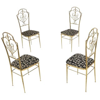 Set of 4 Italian Mid-Century Modern Chiavari Brass Chairs For Sale