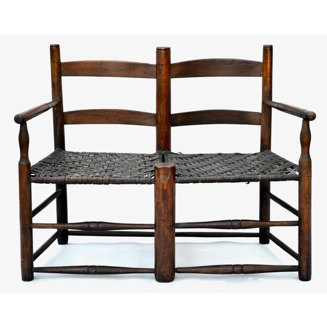 Late 19th Century Antique American Hickory Primitive Settee For Sale - Image 5 of 5