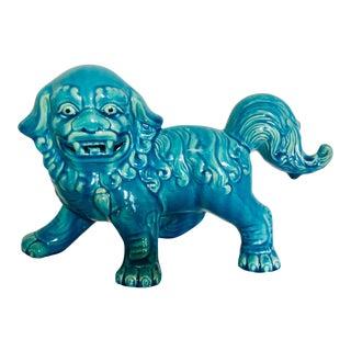 Vintage Mid-Century Turquoise Ceramic Foo Dog Figurine For Sale