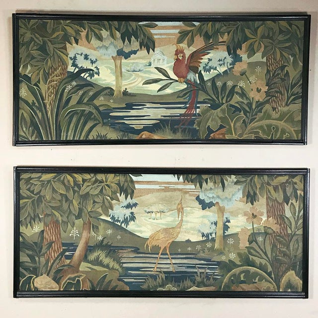 Art Deco Period Flemish Framed Tapestries-a Pair For Sale - Image 13 of 13