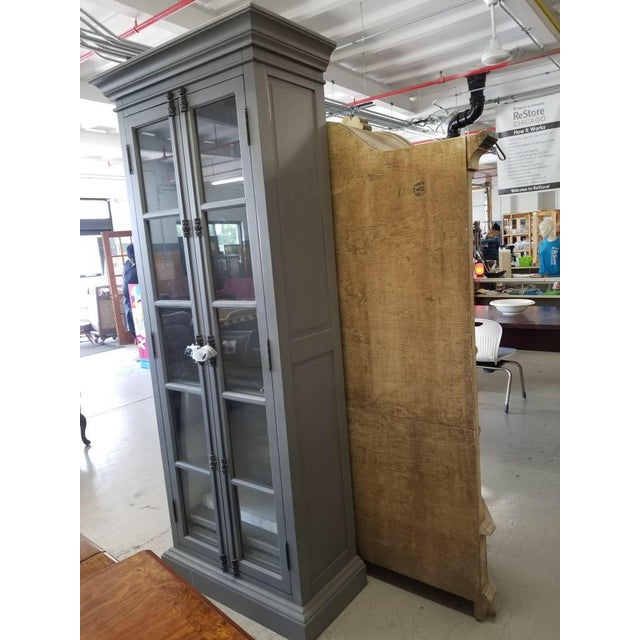 Contemporary French Restoration Hardware Casement Narrow Double Glass Door Cabinet in Distressed Grey For Sale - Image 3 of 8