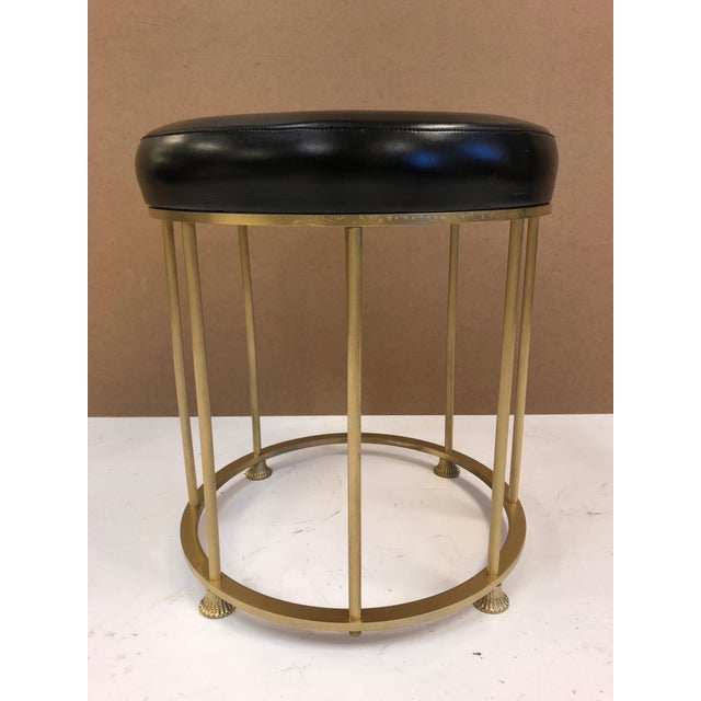 1950s French Bronze and Steel Stool Attributed to Maison Jansen. Has a black vinyl tufted seat.