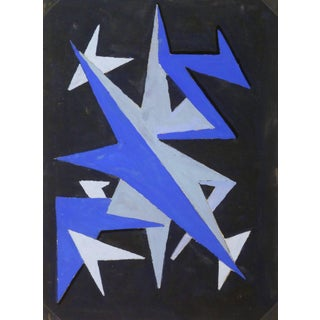 French Abstract - Blue Chevrons For Sale