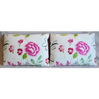"""French Manuel Canovas Floral Linen Feather/Down Pillows 22"""" X 16"""" - Pair Preview"""