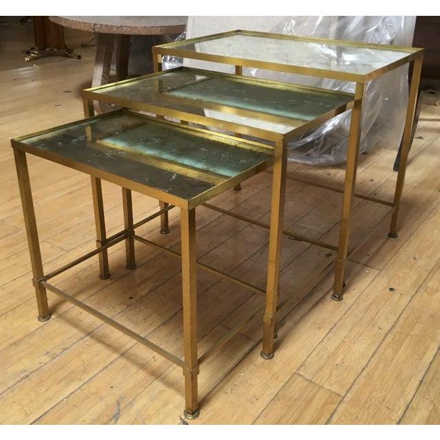 Art Deco Marc Du Plantier Refined Gold Bronze 3 Nesting Tables For Sale - Image 3 of 8
