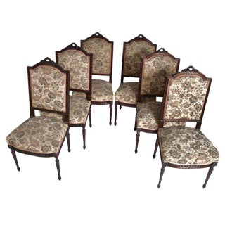 19th Century Vintage Louis XVI Style Side Chairs- Set of 6 For Sale