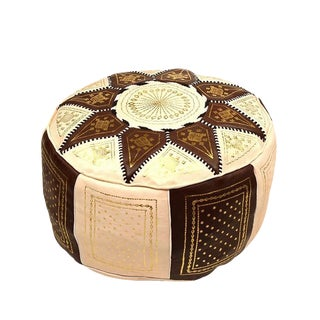 Fes Brown Leather Pouf For Sale