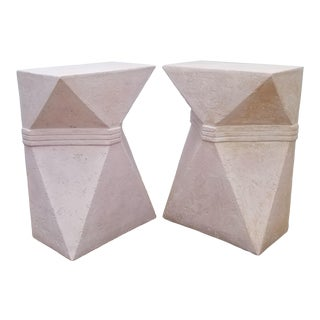 1970s Vintage Sculptural Geometric Plaster Pedestals- A Pair For Sale