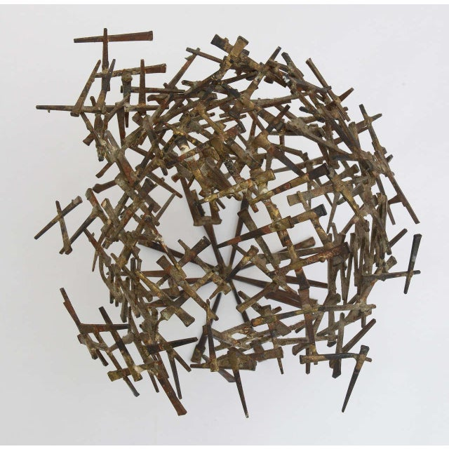 One Of A Kind Brutalist Abstract Nail Tabletop Globe Sculpture For Sale In Miami - Image 6 of 10