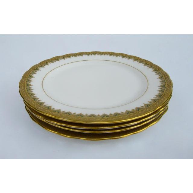 "Gold C1930s French Art Deco Limoges ""Elite Works"" 24k Gilt Gold & Green Rimmed Asst. Dishes & Cups -Set of 11 For Sale - Image 8 of 13"