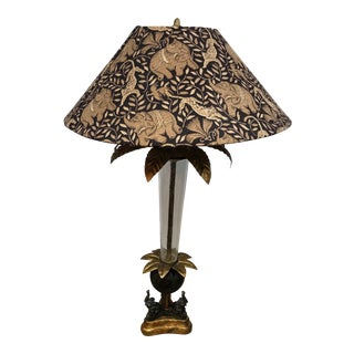 Mid 20th Century Glass and Metal Three Elephant Lamp With Shade For Sale
