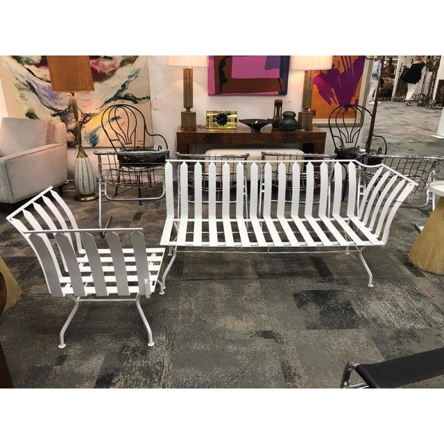 """Mid-century white metal garden sofa with corner chair. Measures: Chair W 23""""."""