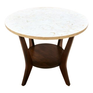 Mid-Century Modern Travertine and Walnut Side Table For Sale