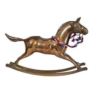 Large Vintage Brass Rocking Horse For Sale