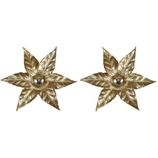 1960s Gold Washed Stylized Flower Sconces - a Pair For Sale