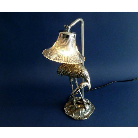 1940s Hollywood Regency Maison Bagues Silvered Bronze/ Crystal Shade Heron Lamp For Sale - Image 5 of 8