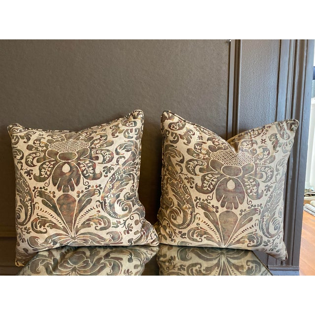Beige Vintage Fortuny Pillows - a Pair For Sale - Image 8 of 8