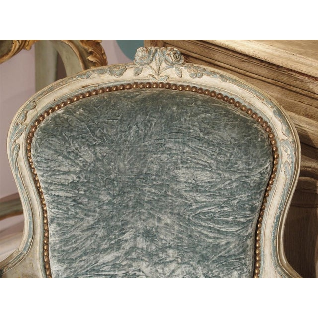 Pair of Period French Louis XV Blue and Cream Lacquered Cabriolet Armchairs For Sale - Image 10 of 13