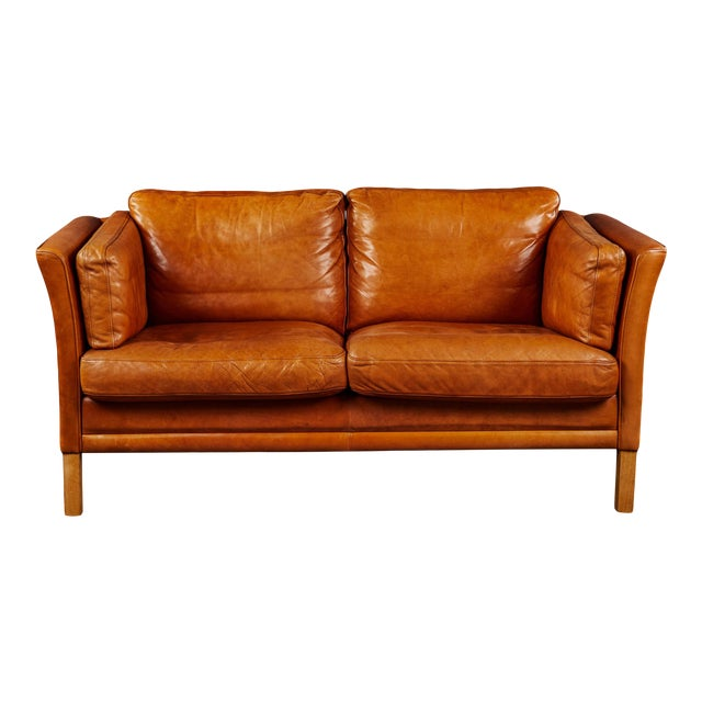 A Rich Leather Scandinavian Settee For Sale