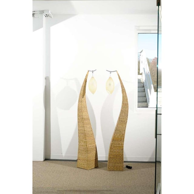 Fantastic Pair of Giant Raffia Floor Lamps For Sale - Image 9 of 10