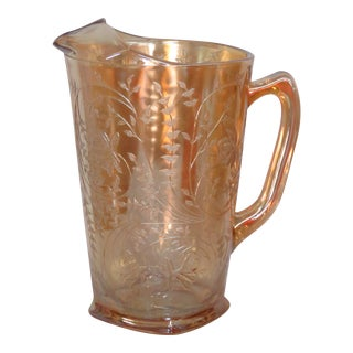 Jeannette Floragold Louisa Style Marigold Iridescent Glass Pitcher For Sale