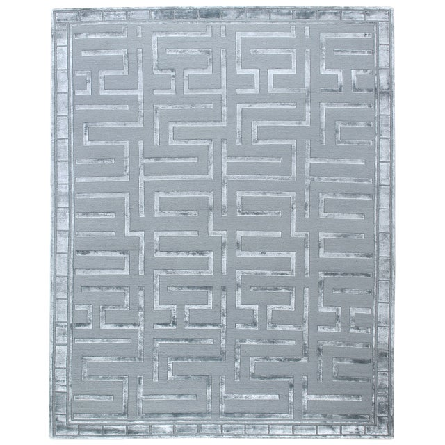 Transitional Exquisite Rugs Vera Hand knotted Wool/Viscose Aqua Rug-12'x15' For Sale - Image 3 of 3