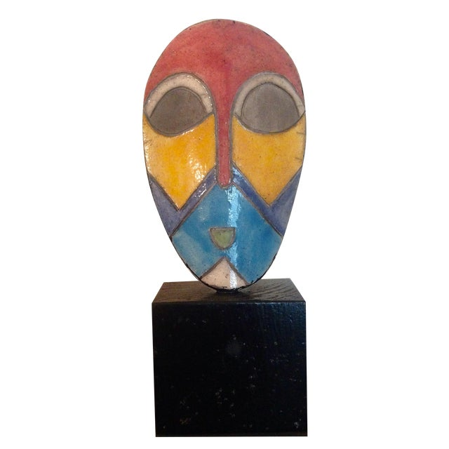 African Enamel Mask On Stand - Image 1 of 3