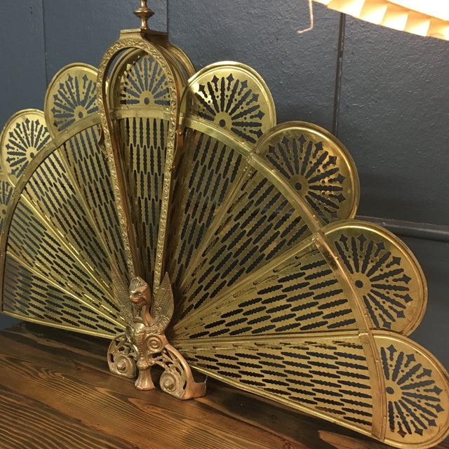 Traditional Vintage Retractable Brass Fireplace Screen For Sale - Image 3 of 9