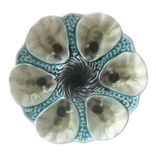1900 Majolica Oyster Orchies Plate For Sale