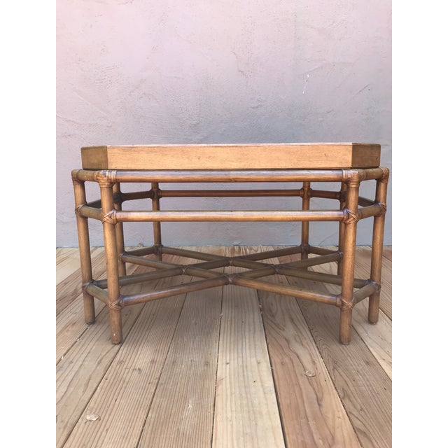 1970s McGuire Bamboo & Fruitwood Coffee Table For Sale - Image 5 of 9