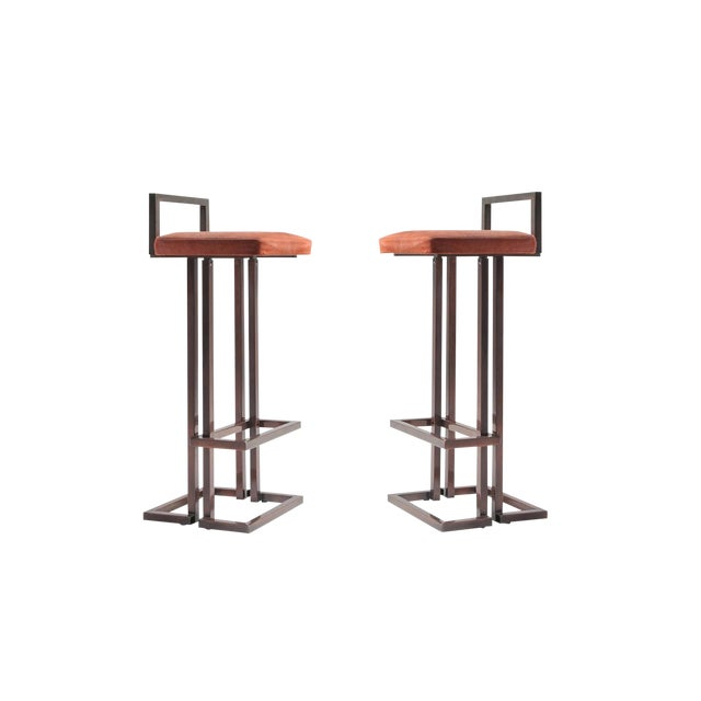 Maison Jansen Rose Metal Stools For Sale