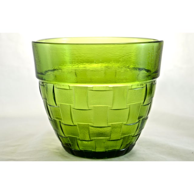Boho Chic Anchor Hocking Green Basket Weave Glass Bowl For Sale - Image 3 of 3