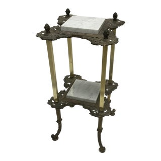 Antique Victorian Brass Fern Stand With Marble Inserts For Sale