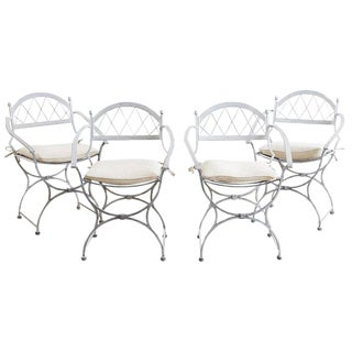 Set of Four Neoclassical Cast Iron Garden Chairs For Sale