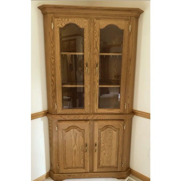 Solid Oak Corner Display Cabinet For Sale - Image 12 of 12