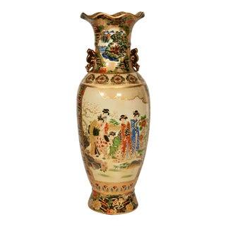 Large Antique Asian Satsuma Umbrella Stand / Floor Vase For Sale