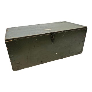Vintage Industrial Green Wood Military Foot Locker Trunk