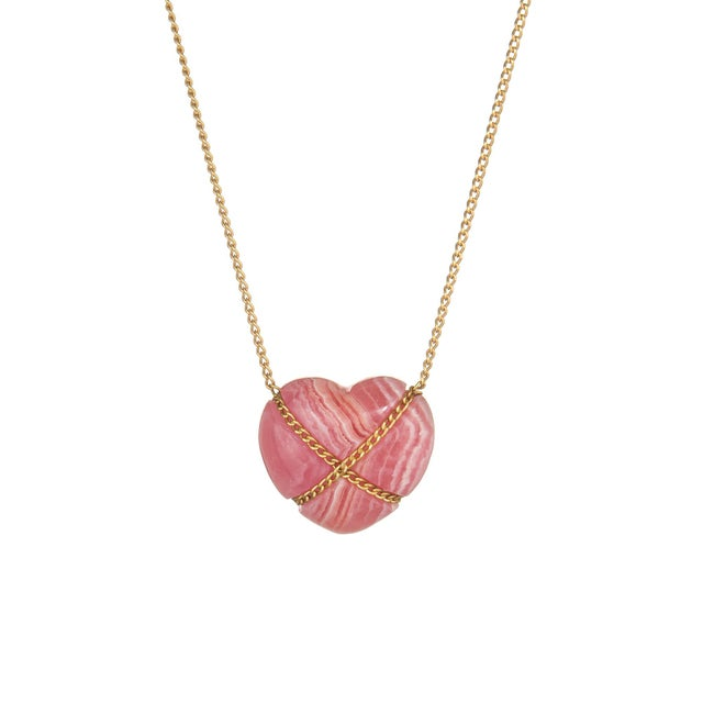 Tiffany and Co. Vintage Tiffany & Co Rhodochrosite 18k Yellow Gold Cross My Heart Necklace For Sale - Image 4 of 4