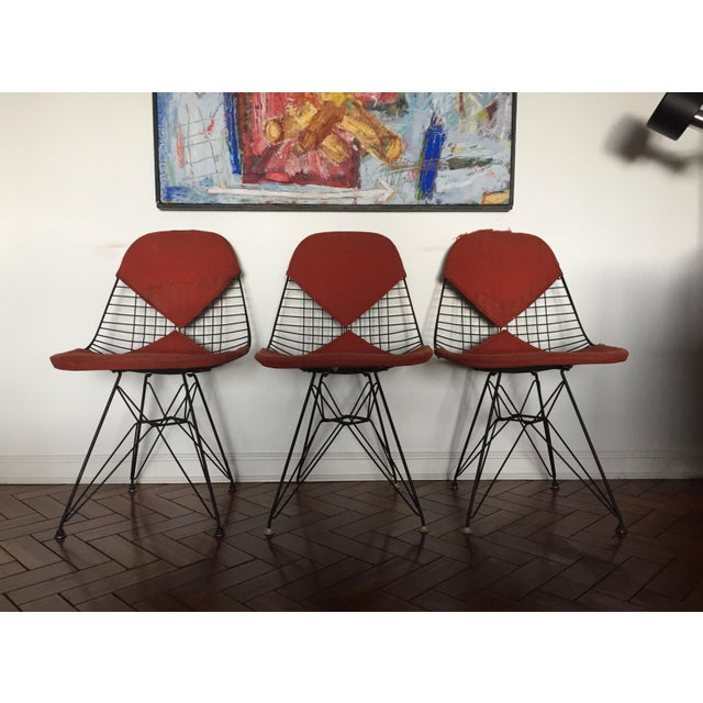 Eames DKR Black Wire Chairs - Set of 3 For Sale - Image 10 of 11
