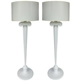 Carved Wood Ionic Column Floor Lamps From the Eden Roc Hotel in Miami Beach For Sale