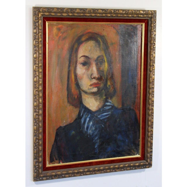 For your consideration is a magnificent oil on canvas portrait, framed by Annette Dufresne. In excellent condition. The...