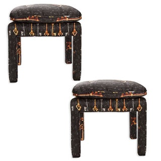 Billy Baldwin Stools in Dolce and Gabbana Silk - Pair For Sale