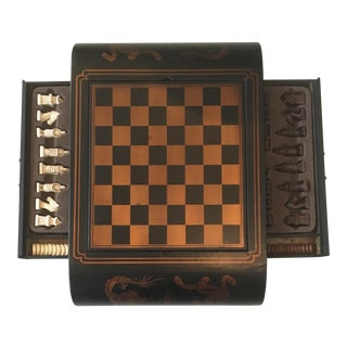 Chinoiserie Style Gilt Chess Board/Backgammon Game Set For Sale