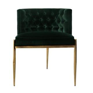 Dining Chair - Velvet & Brass For Sale
